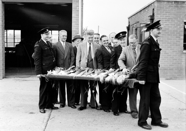 Durham Ambulance Service's first leek show at Framwellgate Moor, 1956. Stretchers were used as show benches!