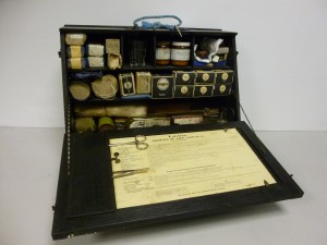 ARP (Air Raid Precautions) First Aid Kit with instruction card
