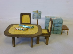 Handmade dolls house dining room furniture.